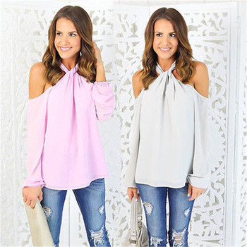 summer Womens sexy blouses girl Sexy Long Sleeve Off The Shoulder Chiffon Tops Blouse Shirt female blusas Casual Halter