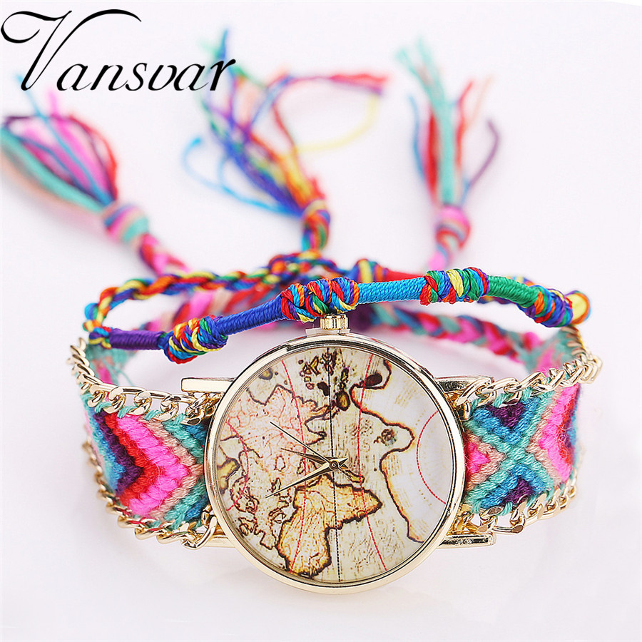 33f29ba08799b Vansvar Brand Fashion Friendship Watch Handmade Braided Band World Map  Watch Ladies Quarzt Watches Relogio Feminino 2022
