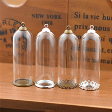 5set 50*18mm hollow glass tube with setting base beads cap set vials pendant bottle jewelry findings