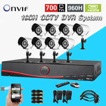 16 channel cctv system home security 16ch cctv kit 700TVL outdoor waterproof  camera 16ch DVR video recorder kit CK-208