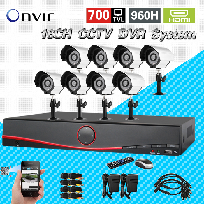 TEATE 16 channel cctv system home security 16ch cctv kit 700TVL outdoor waterproof  camera 16ch DVR video recorder kit CK-208 home cctv surveillance system 16 channel dvr recording with 16pcs 700tvl dome security camera system cctv dvr kit 16ch ck 206