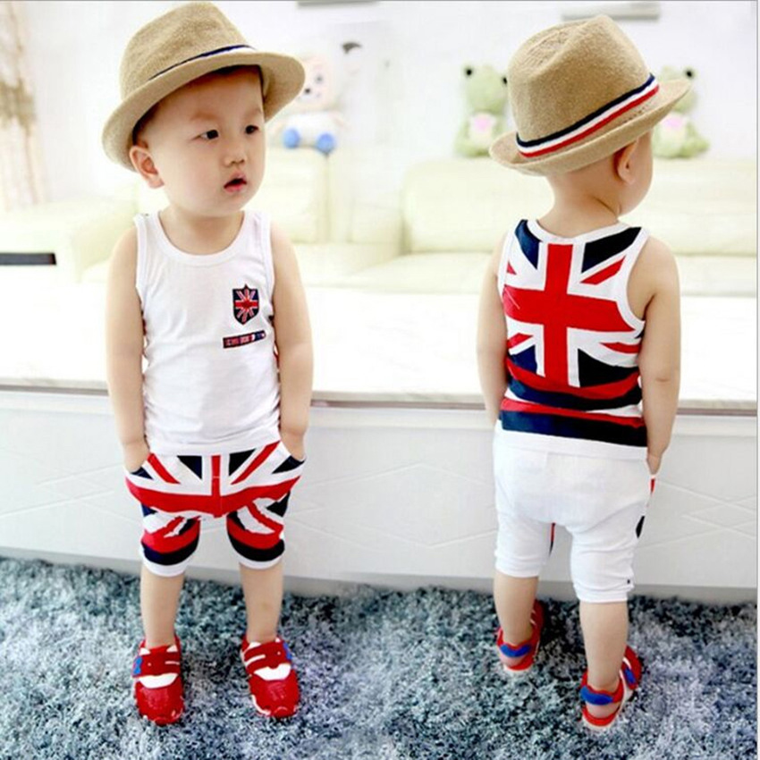 NO-34 2016 New summer Baby boys clothes set, short T-shirt+ pants red flag suits chidlren clothing sets