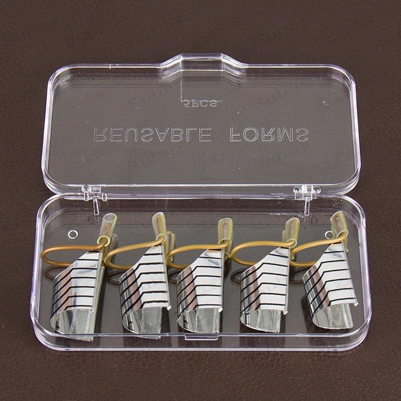 ᗖ3 sets(5PCS/set) Reusable Dual Silver Nail Forms For Nail Gel ...