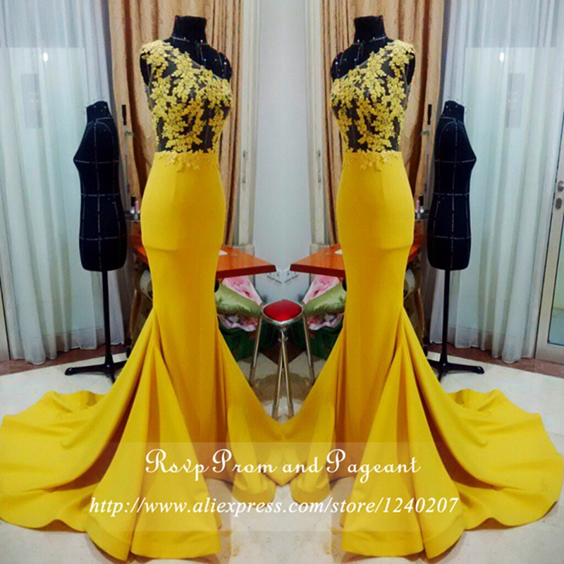 Real Photos Yellow Long Mermaid Prom Dresses 2017 See Through Sheer Lace Top One Shoulder Satin