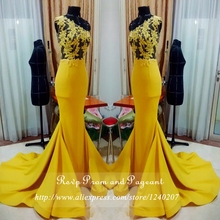 Real Photos Yellow Long Mermaid Prom Dresses 2017 See Through Sheer Lace Top One Shoulder Satin Prom Gowns With Sweep Train