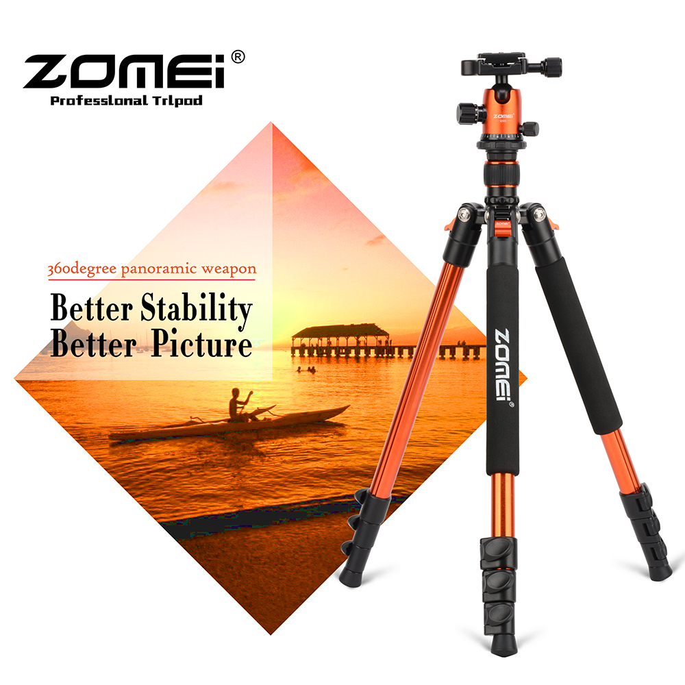 ZOMEI Q555 Tripod Lightweight Aluminum Alloy Portable Travel Camera Tripod with Carry Bag for Canon Nikon