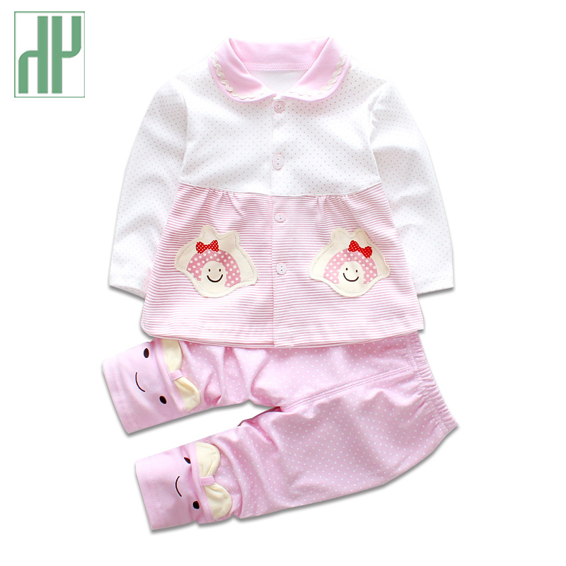 HH 2Pcs/Set Baby Girl Clothes Autumn Spring newborn clothing Cotton Full Sleeve first birthday outfit girl Clothing baby suit
