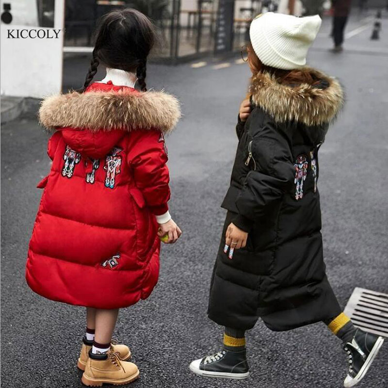 2017 New Girls Boy Long Padded Jacket Children Winter Embroidery Coat Kids Warm Thickening Hooded Down Coats For Teenage Parkas children winter coats jacket baby boys warm outerwear thickening outdoors kids snow proof coat parkas cotton padded clothes