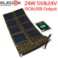 ELEGEEK 24W Folding Solar Panel Charger 24V & 5V USB+DC Foldable Solar Panel Charger for iPad iPhone Android Samsung Devices