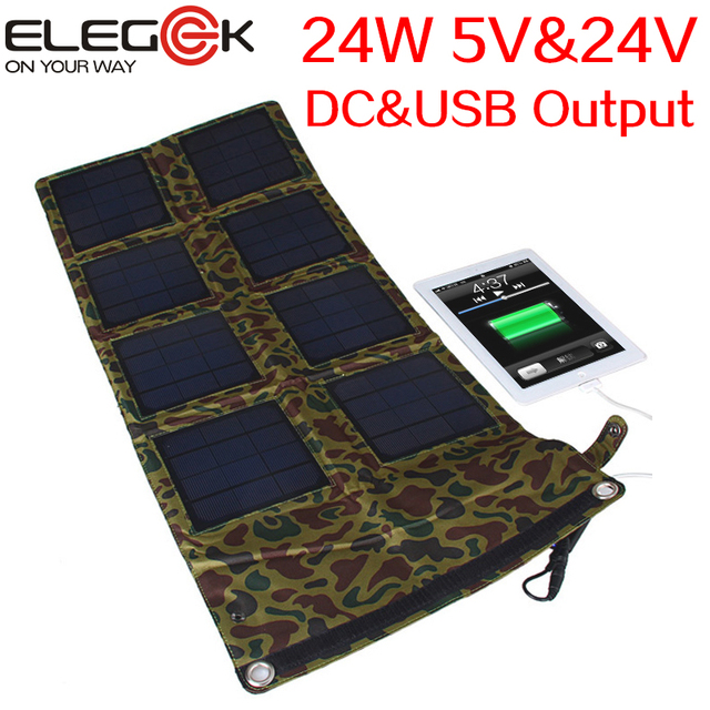 Elegeek 24 w plegable panel solar cargador de 24 v y 5 v usb + dc cargador del panel solar plegable para ipad iphone android samsung dispositivos