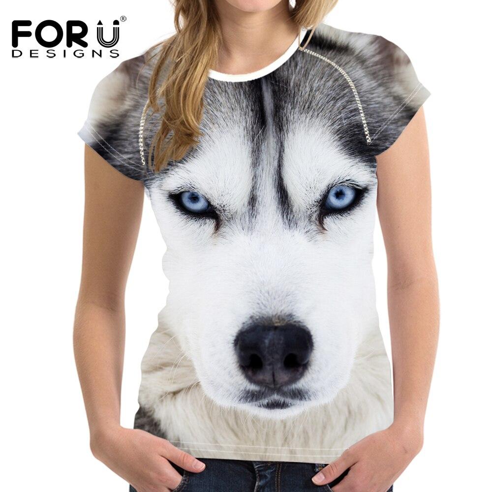 FORUDESIGNS t shirt Retro Women T-shirt 2018 Vogue 3D Wolf Printed Cool t-shirt O Neck Woman Streetwear Tops Femme Trend