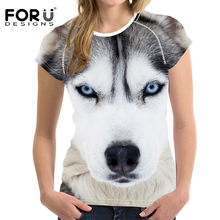 FORUDESIGNS t shirt Retro Women T-shirt 2018 Vogue 3D Wolf Printed Cool t-shirt O Neck Woman Streetwear Tops Femme Trend