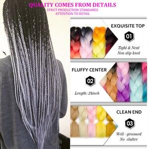 Aigemei High Temperature Fiber Jumbo Braids Ombre Synthetic Braiding Hair Extensions 100g 24inch Crochet Braiding Hair For Women