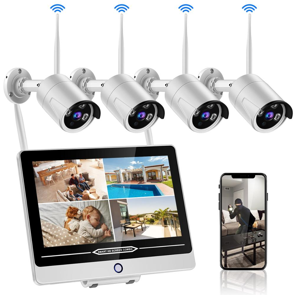 """Wifi NVR Kits H.264 12.5"""" Monitor Wireless Security Camera HD IR CCTV System 4Ch Home Security Cam 4pcs 2MP Outdoor IP Cameras"""