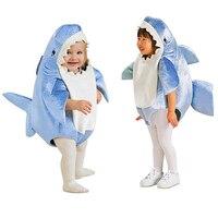Kids Children Attack Blue Shark Costume Party Mascot Animal Costume Jumpsuit Halloween Fancy Dress Mascotte Jumpsuit