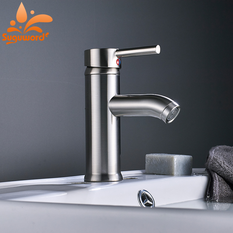Bathroom Sink Faucet Single Handle Deck Mounted Faucet Hot and Cold Water Mixer Taps deck mounted automatic hot cold mixer faucet hand touch tap single handle battery power free sensor faucet bathroom sink taps