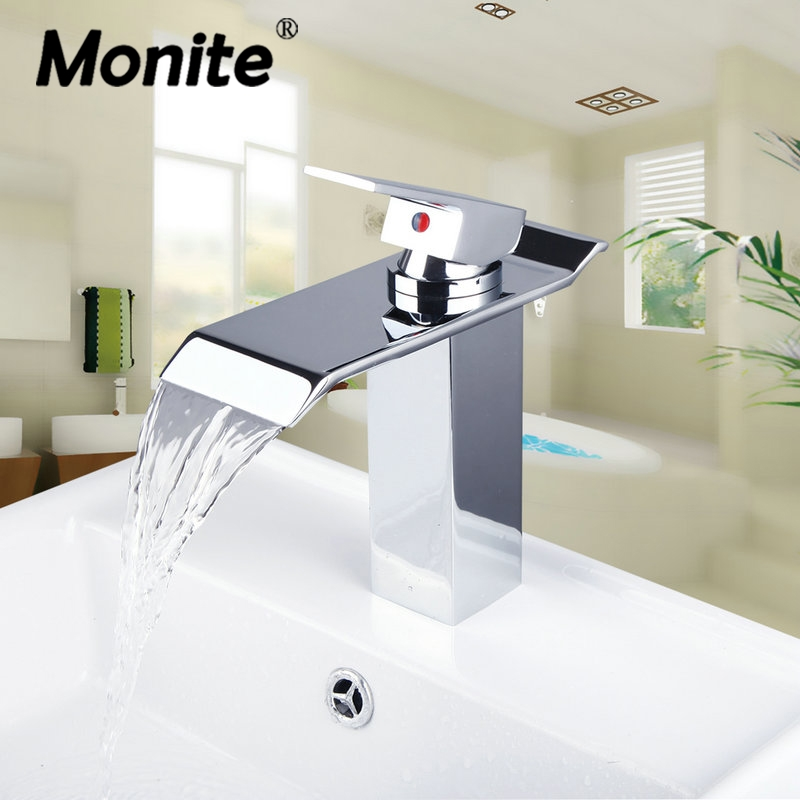 Waterfall Spout Deck Mounted Single Handle Bathroom Brass Basin Sink Mixer Tap Chrome Polished Faucet Mixer Tap contemporary waterfall spout basin faucet single handle bathroom vessel mixer tap chrome finished