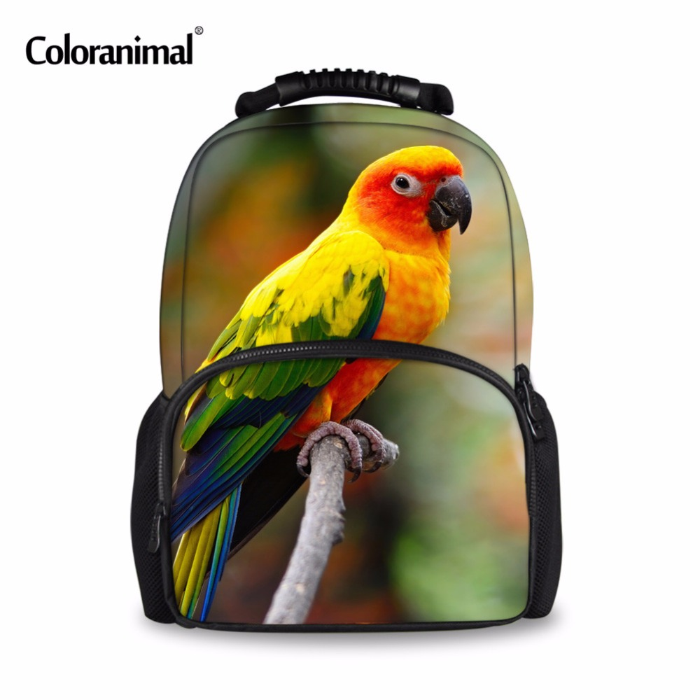 Coloranimal Parrot Star Wolf Peacock Casual Bagpacks Student School Bookbags 3D Animal Print Teenager Girls Customized Backpack