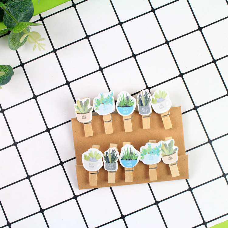Practical 10 Pcs/lot Garden Plant Series Wooden Clip Photo Paper Clothespin Craft Clips Party Decoration Clip With Hemp Rope Office & School Supplies Office Binding Supplies