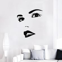 Girls Beauty Salon Wall Stickers Sexy Lips Eyes Woman Face Decal Vinyl Home Interior Removable Art Mural Pattern DIY SYY660