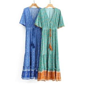Image 5 - TEELYNN maxi Abiti Vintage Floral stampa sexy profondo scollo a v ncek Gypsy abiti estivi perdono Hippie Delle Donne vestito lungo boho abiti 2019