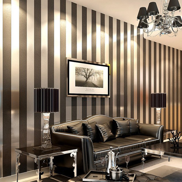 black and white wallpaper ideas for living room how to design non woven silver gold glitter striped roll papel de parede livingroom bedroom backgound wall decor