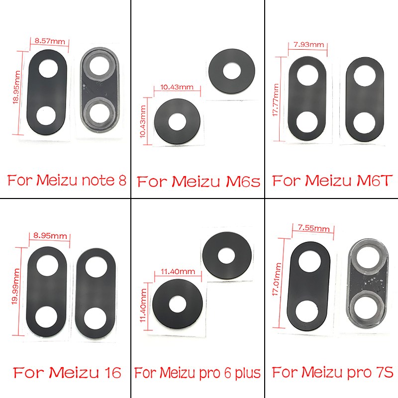 2pcs/lot,Rear Camera Glass Lens With Sticker Glue For Meizu Pro 6 Plus 6S 7S 16TH M6S M6T Note 8 V8 Replacement Parts