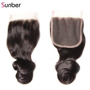Image 5 - Sunber Hair Peruvian Loose Wave Hair Bundles With Closure Remy Human Hair Weaves 16 26 inch 3 /4 Bundles With Closure