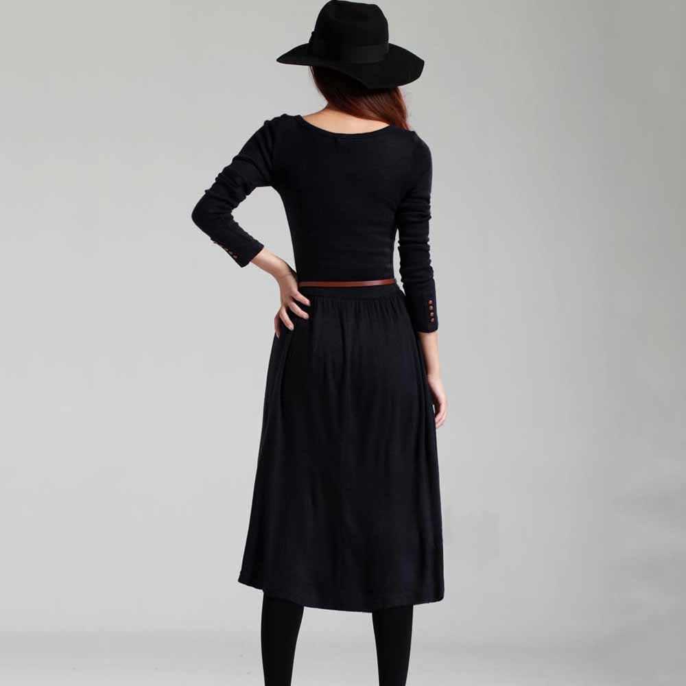 Женское трикотажное облегающее платье с длинным рукавом и пуговицами, осенне-зимнее плиссированное платье с круглым вырезом, повседневное вечернее платье с поясом, эластичное