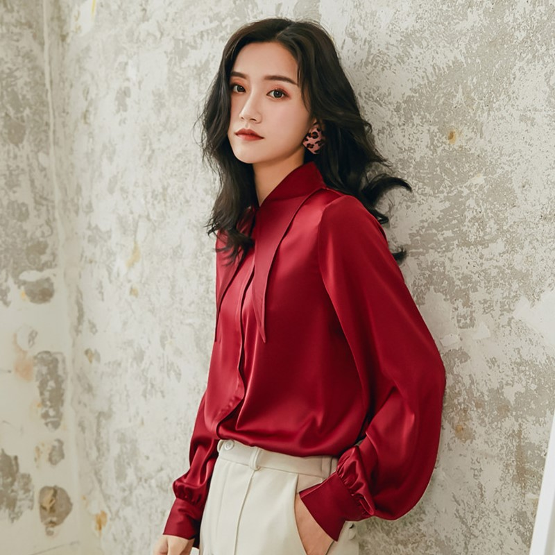 Women Vintage Satin Silk Long Sleeve Deep Red Casual Shirt Female Streetwear Hip Hop Party Stage Show Loose Blouse Ladies Tops