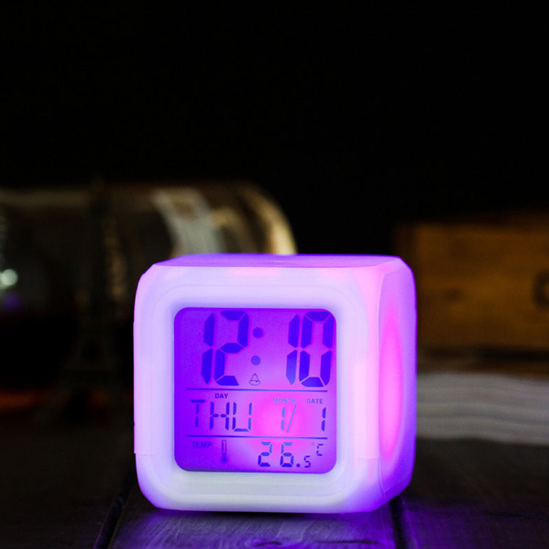 7 LED Colour Changing Digital LCD Alarm Clock Thermometer Date Time Night Light Hot Sale