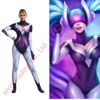 Game LOL League of Legends DJ Sona Cosplay Costumes Women Girls Spandex Zentai Jumpsuits Bodysuit Catsuit Party Fancy Ball New