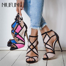 New Sexy Women Sandals High Heels Shoes Thin Heel Sandals Woman Peep Toe Buckle Mixed Color Ankle Strap Shoes Party Shoes colorful crystal women shoes ankle peep toe high heel buckle newest real photo sandals metal buckle platform shoes bling hotsale
