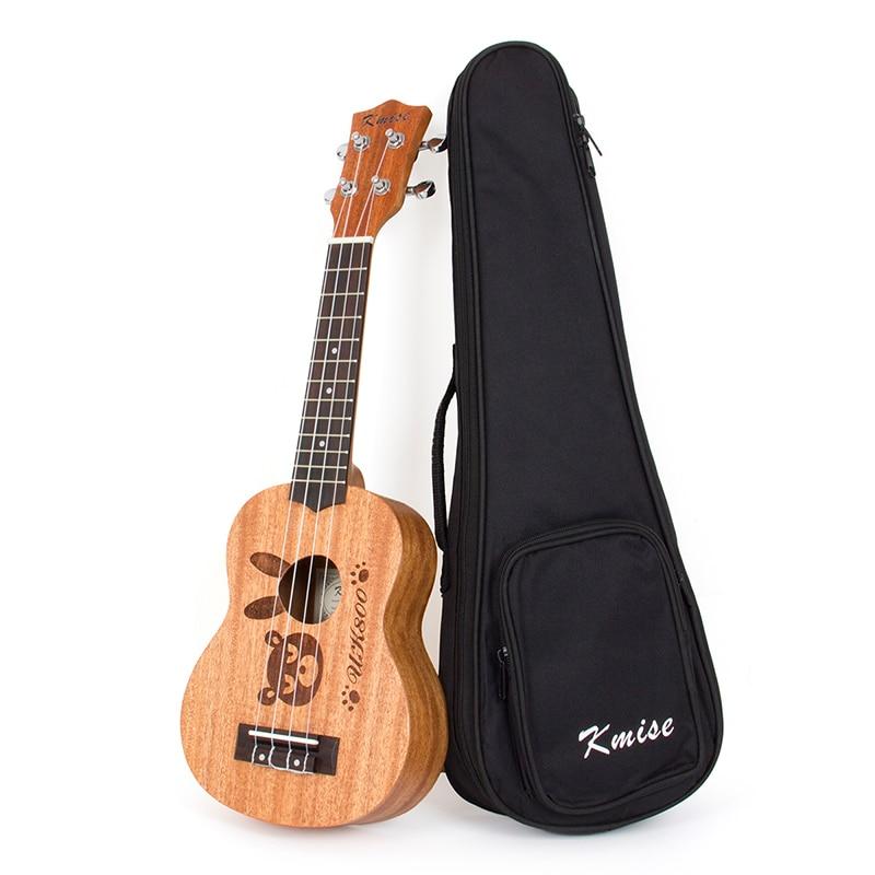 Kmise Soprano Ukulele Mahogany Ukelele Uke 4 String Hawaiian Guitar 12 Fret 21 Inch with Gig Bag