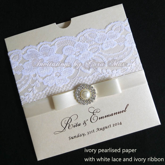 Ca0611 ivory lace wedding invitations with ribbon and rhinestone buckle