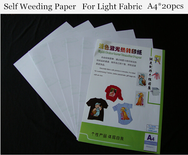 (A4*20pcs) Laser Heat Transfer Paper Light Color (8.3*11.7 Inch) Self Weeding Paper For T Shirt Thermal Transfers