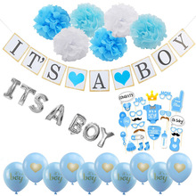 где купить 1set Baby Shower Birthday Balloons Its A Boy / Girl Letters Foil Balloon DIY Babyshower Decorations Gender Reveal Party Supplies дешево