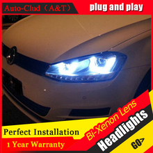 Auto Clud For vw golf 7 headlights Double U Angel Eyes DRL For vw golf 7 car styling H7 Q5 bi xenon lens parking LED light guide