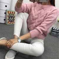 Зимний женский свитер с круглым вырезом, Женский трикотажный свитер из мохера, скрученный толстый теплый женский пуловер 2019, женский джемпе...
