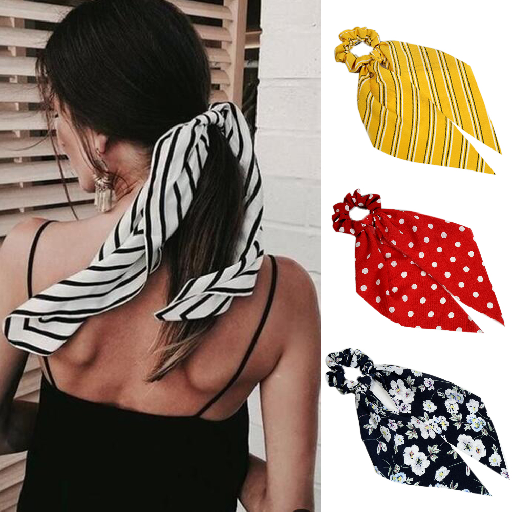 Bohemian Summer Hair Scarf For Women Elastic Hairband Dot Print Floral Pattern Hair Tie Scrunchie Bow Hair Rubber Ropes