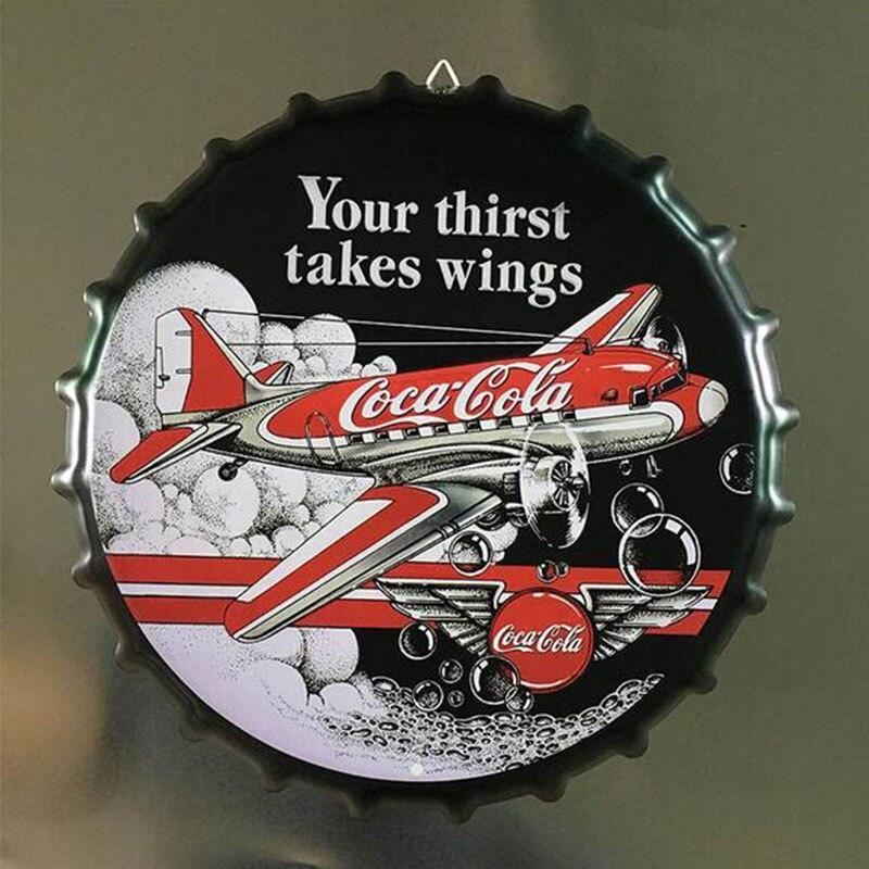 35 CM Cap Beer Poster Retro Café Cola Placa de Metal Da Lata Sinais Bar Café Pub Decoração Da Parede de Nostalgia Do Vintage Rodada placas de Cartaz Da Arte