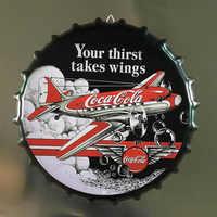 35CM Beer Cap Poster Retro Coffee Cola Plaque Metal Tin Signs Cafe Bar Pub Wall Decor Vintage Nostalgia Round Plates Art Poster