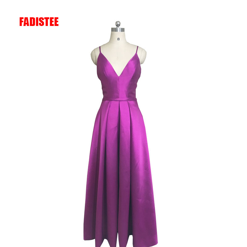 FADISTEE New arrival party   prom     dress   Vestido de Festa sexy A-line satin spaghetti strap backless   dress   free shipping