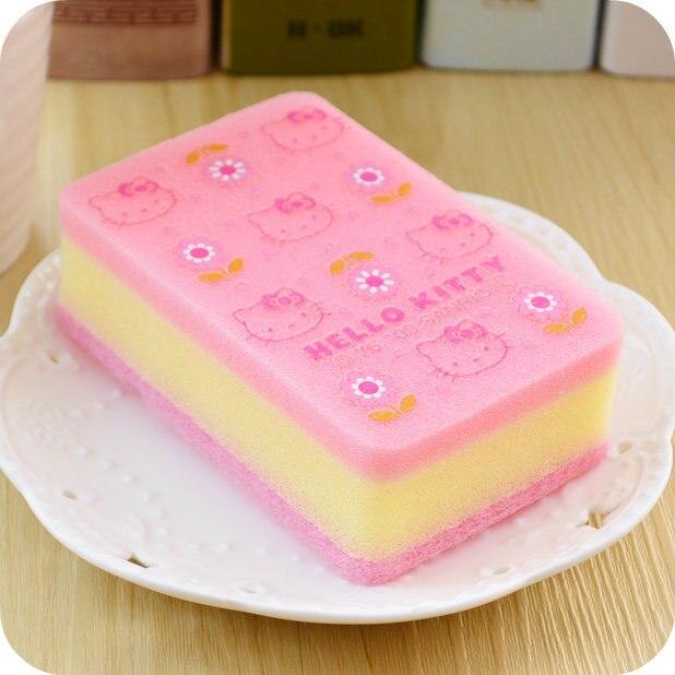 1 Pz Kawaii Kitty Cat Rosa Cucina Pulizia Eraser Multi-funzionale Spugna. Cartoo