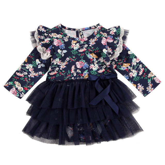 2e24bffc47003 Newborn Baby Girls Dress Infant Jumpsuit Bodysuit Tutu Navy Blue Dress  Ruffle Lace Clothes Outfit New Long Sleeve Girl Dresses