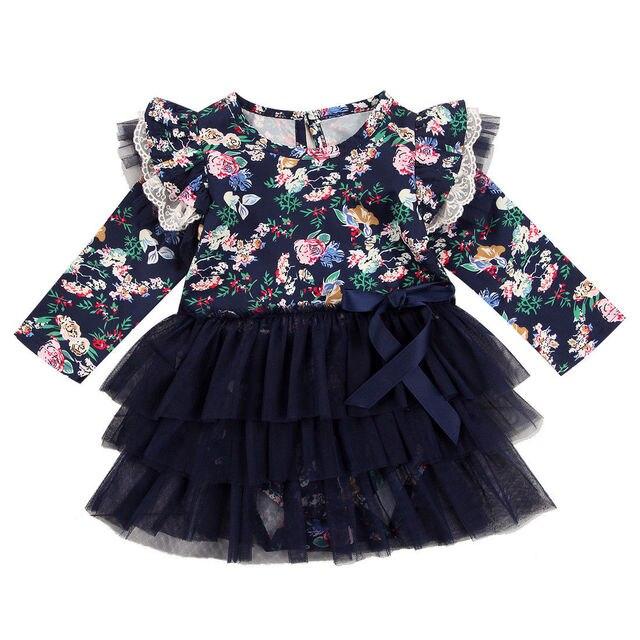 c07e6ead050 Nouveau-né bébé filles robe infantile combinaison body Tutu bleu marine robe  à volants dentelle