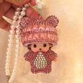 Monchichi doll rear view mirror charm bling red crystal monchhichi car pendant woman Car Accessories unique gift pearl chains