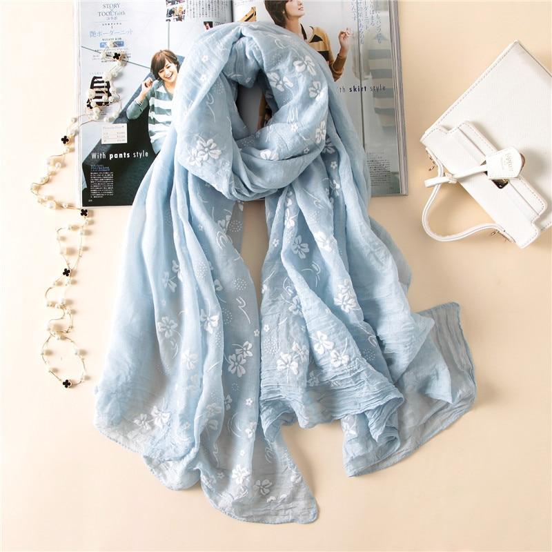 2019 New Brand Spring Women Scarf Embroider Fashion Long Scarves Cotton Winter Shawl Lady Pashmina Bandana Foulard Hijabs Female