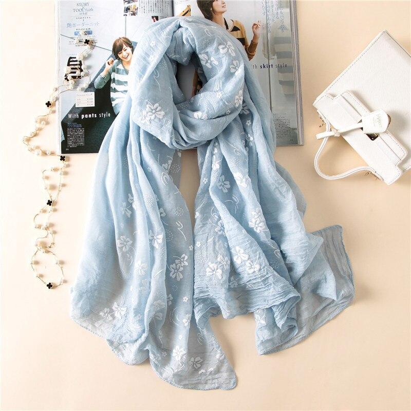 2020 New Brand Spring Women Scarf Embroider Fashion Long Scarves Cotton Winter Shawl Lady Pashmina Bandana Foulard Hijabs Female