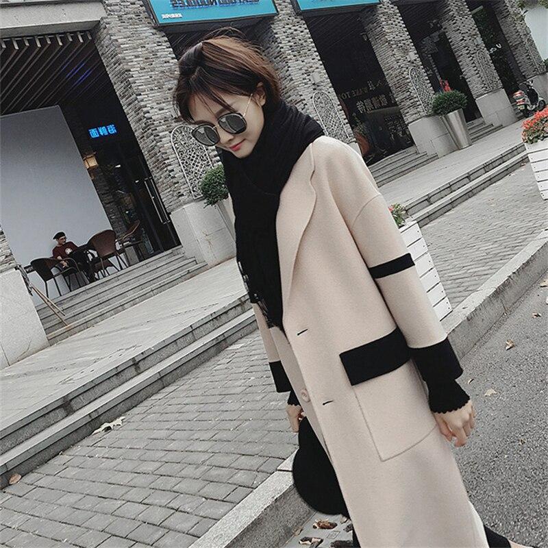 Taille La Plus Nouvelle Femmes Chaud White 2018 Ljj0194 Longue Manteau Occasionnel Épais Mince Lâche Section De Hiver Femelle black Mode Laine tgxwtqI5
